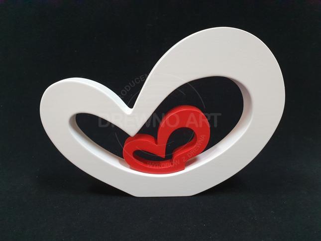 Serce z drewna biało-czerwone