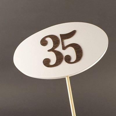 Tabliczka na piku z cyfrą 35