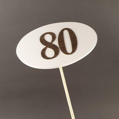 Tabliczka na piku z cyfrą 80