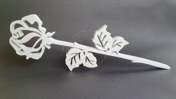 Biała róża z litego drewna