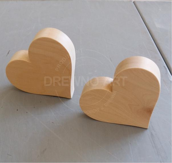Serca drewniane - surowe, lite drewno