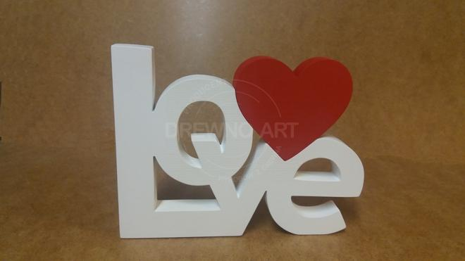 Napis LOVE z drewna biało-czerwony