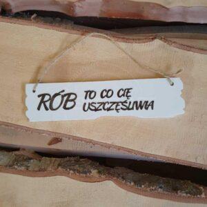 Tabliczka z napisem, lite drewno