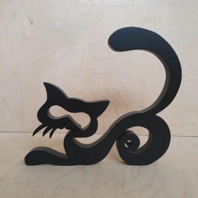 Czarny kot drewniany